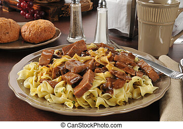 Beef tips on buttered noodles - Beef steak with mushroom...