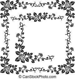 decorative roses - rose border, frame and corner