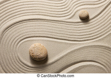 Zen garden - Two stones surrounded by sand ripples Zen...