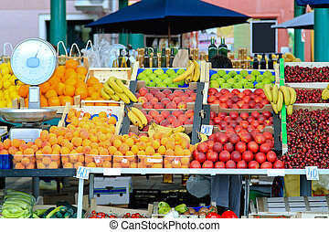 Fruit stall - Fresh organic fruits at farmers market stall