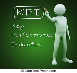 3d man writing kpi - 3d illustration of person with marker...