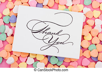Thank You - Thank you card on candy heart background
