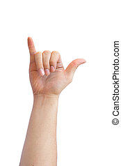 hand sign Language - Y in hand sign language. white...