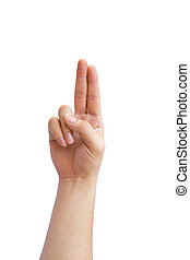 hand sign Language - U in hand sign language white...