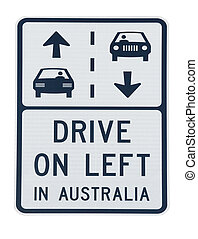 Australia road sign - road sign warning about the side of...