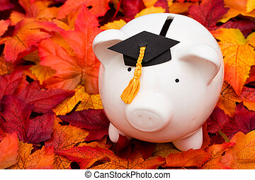 Education Savings - Piggy bank with a graduation cap the...