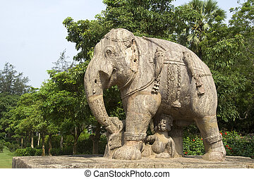 Safe under Belly - Statue of elephant with soldier...