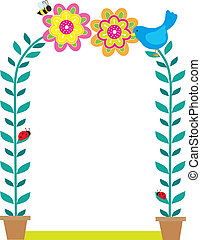 Bird Border - A framed background with two potted plants...
