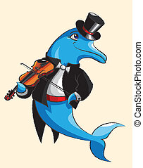Dolphin and violin - The elegant dolphin dressed in a dress...