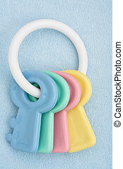 Baby Toy - A blue baby facecloth with toy keys