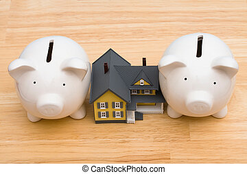Home Finances - Home with piggy bank, being squeezed by a...