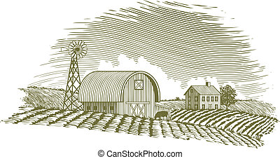 Woodcut Barn and Windmill - Woodcut style illustration of a...