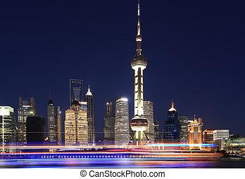 Shanghai bund skyline at New night city landscape