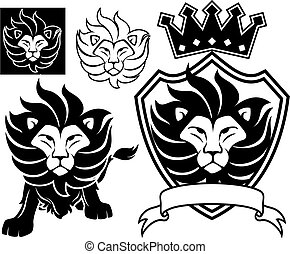 lion emblem - lion head designs isolated on white...
