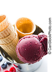 Gourmet gelato - Gourmet mixed berry gelato on a white...