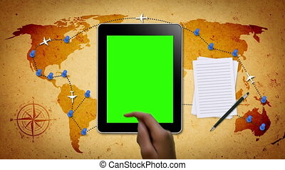 Travel Map with Hand Gestures - Hand Gestures on a tablet...
