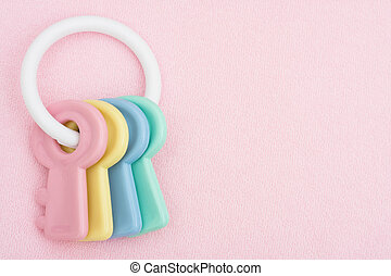 Baby Toy - A pink baby facecloth with toy keys