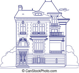 Drawing blue mansion - Vector illustration of an old house