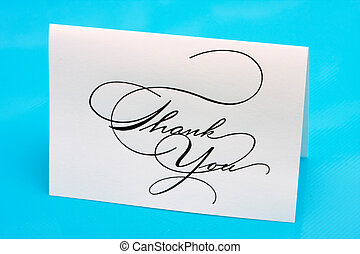 Thank You - Thank you card on a blue background