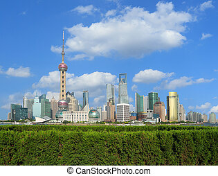 Lujiazui Finance&Trade Zone of Shanghai landmark skyline at...