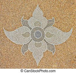 Thai pattern style on gravel stone floor interior decoration
