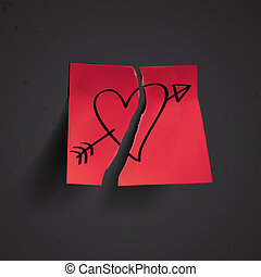 Red small sticky note with heart, vector Eps10 illustration.