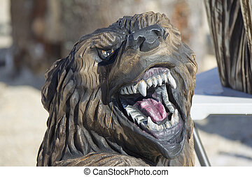 Growling Black Bear wood carving wood carving created with...