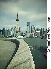 Shanghai bund landmark skyline at city landscape