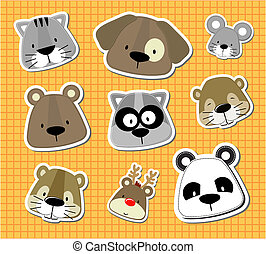 baby pet vector stickers - set of cute baby animals heads...