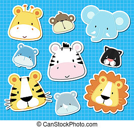 animal baby vector - set of cute baby safari animals heads,...
