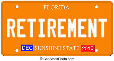 Retirement Florida License Plate - An imitation Florida...