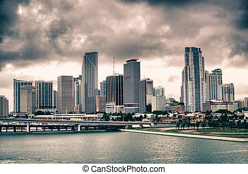 Miami Skyscrapers over a Cloudy Sky