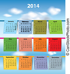 Colorful calendar for 2014 - Calendar for 2014 like laundry...