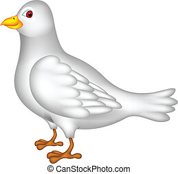 white dove cartoon - vector illustration of white dove...