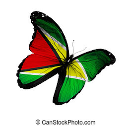 Guyana flag butterfly flying, isolated on white background
