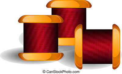 Group of thread reels isolated