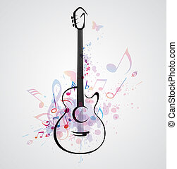 Stylized guitar - Vector stylized guitar on abstract...