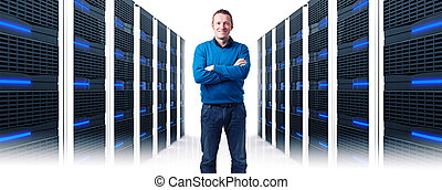 man in datacenter - smiling man in data center
