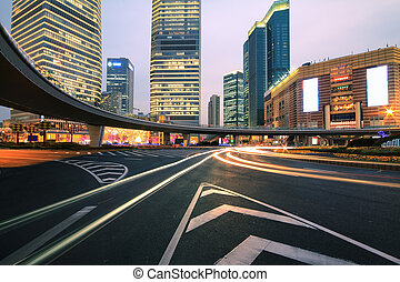 Shanghai Lujiazui highway at night - The street scene of the...