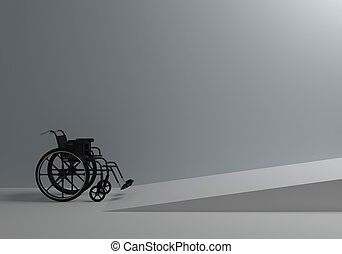 wheelchair in front of the ramp for the disabled - Problems...