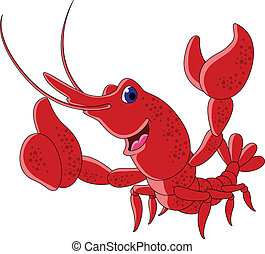 Funny shrimp cartoon character