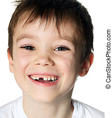 Toothless boy - Portrait of a smiling toothless boy on white...