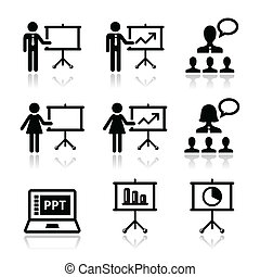 Business presentation, lecture icon