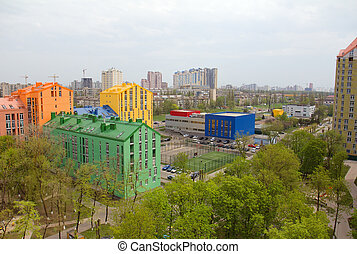 Aerial view on colorful residential buildings