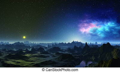 Here life will arise - Rocky landscape of a primitive planet...