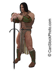 Fantasy Barbarian Warrior - Muscular fantasy style barbarian...