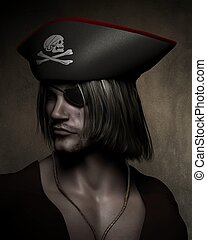 Pirate Captain Portrait - Three quarter dark atmospheric...