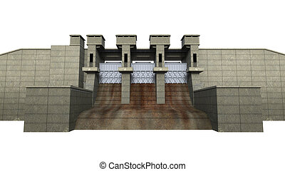 Dam Isolated on White Background. 3D Render