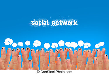 social media - Happy group of finger faces as social network...