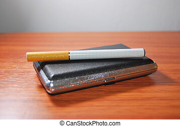 e-cigarett - E-cigarette equipment over white background